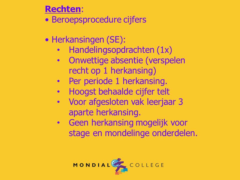 Rechten: Beroepsprocedure cijfers. Herkansingen (SE): Handelingsopdrachten (1x) Onwettige absentie (verspelen recht op 1 herkansing)