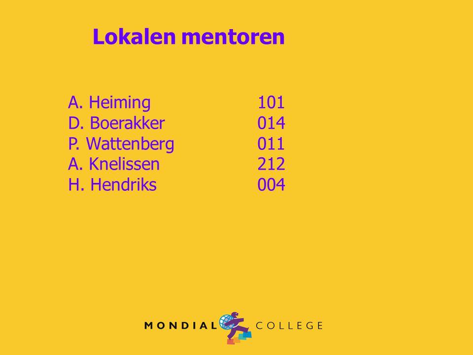 Lokalen mentoren A. Heiming 101 D. Boerakker 014 P. Wattenberg 011