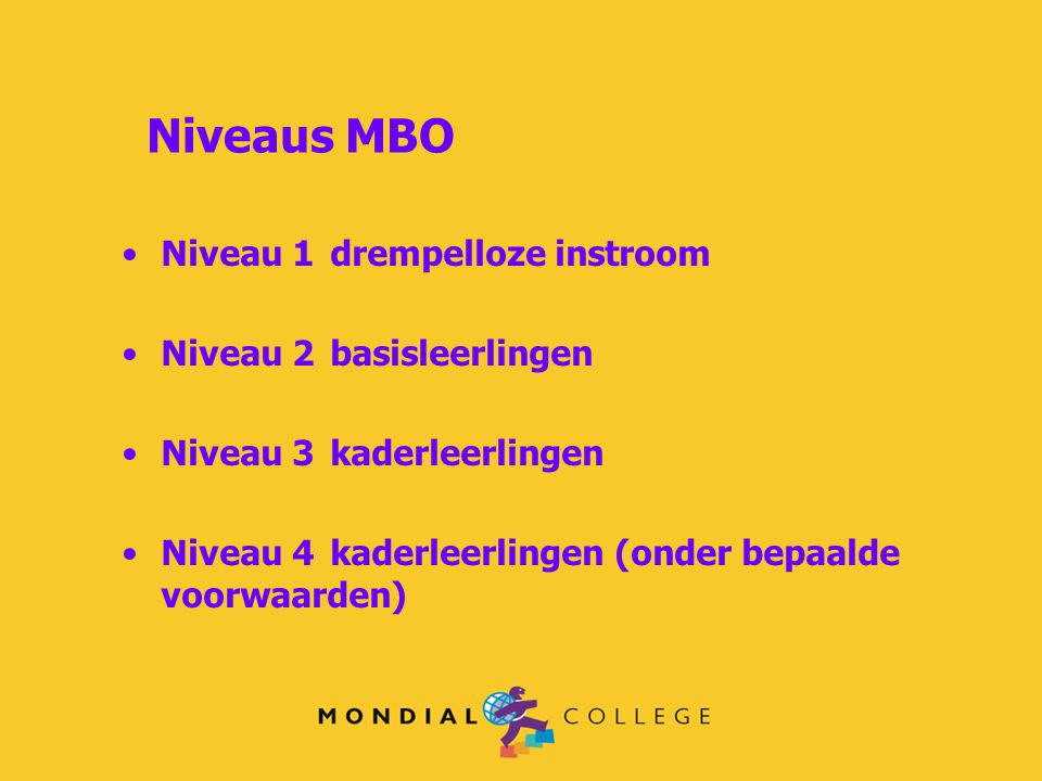 Niveaus MBO Niveau 1 drempelloze instroom Niveau 2 basisleerlingen