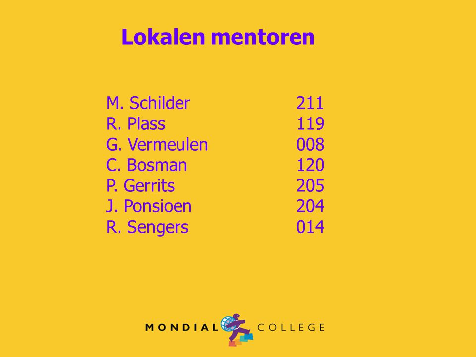 Lokalen mentoren M. Schilder 211 R. Plass 119 G. Vermeulen 008