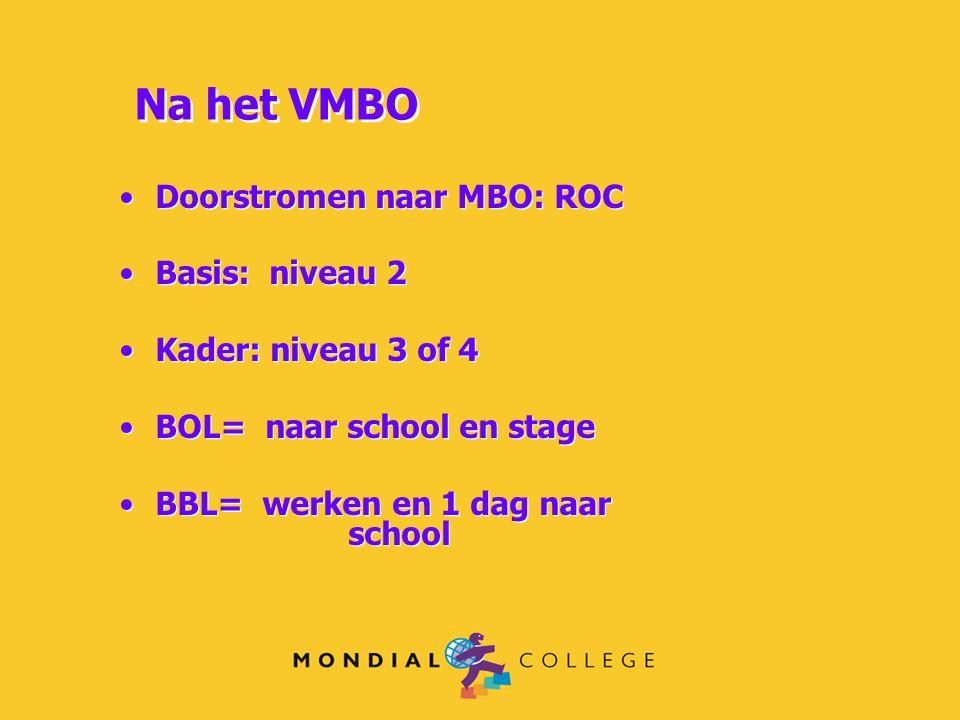 Na het VMBO Doorstromen naar MBO: ROC Basis: niveau 2