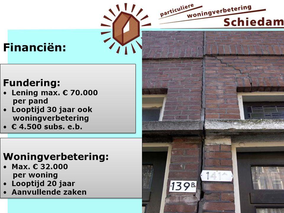 Financiën: Fundering: Woningverbetering: Lening max. € 70.000 per pand