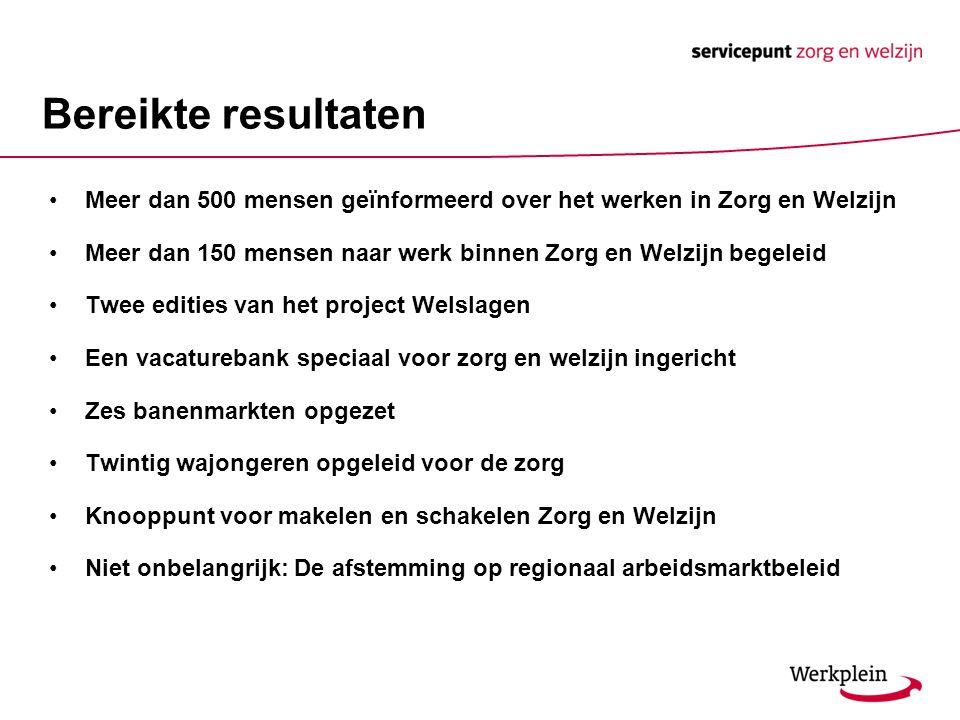 Bereikte resultaten Meer dan 500 mensen geïnformeerd over het werken in Zorg en Welzijn.
