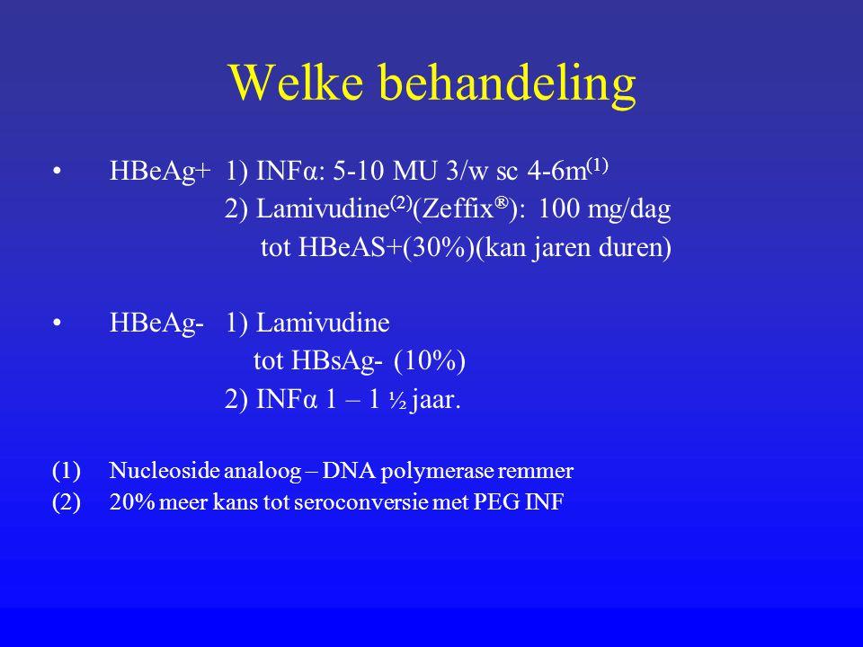 Welke behandeling HBeAg+ 1) INFα: 5-10 MU 3/w sc 4-6m(1)