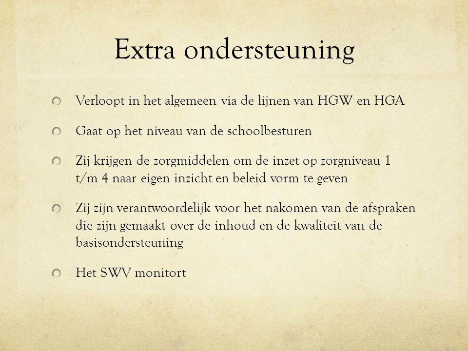 Extra ondersteuning Verloopt in het algemeen via de lijnen van HGW en HGA. Gaat op het niveau van de schoolbesturen.