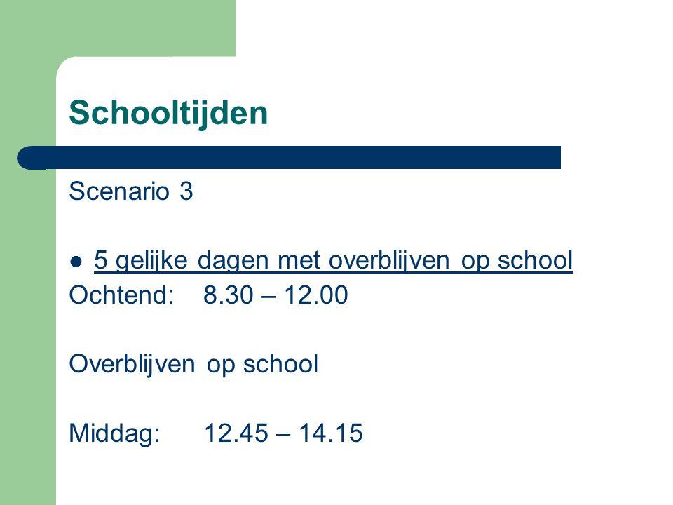 Schooltijden Scenario 3 5 gelijke dagen met overblijven op school