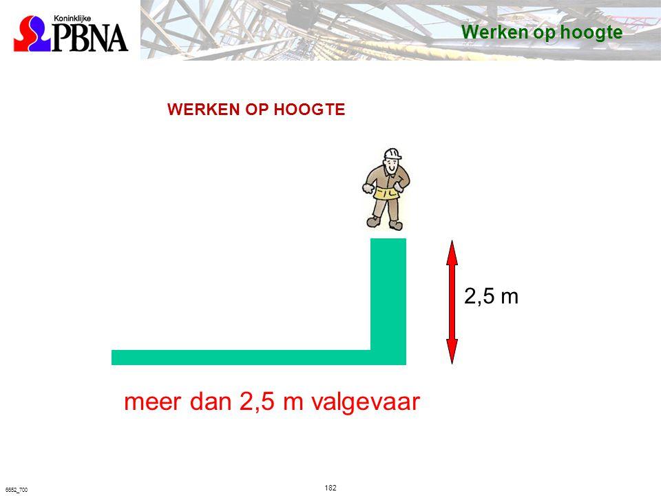 meer dan 2,5 m valgevaar 2,5 m Werken op hoogte WERKEN OP HOOGTE