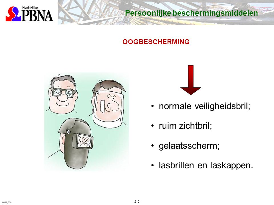 normale veiligheidsbril; ruim zichtbril; gelaatsscherm;