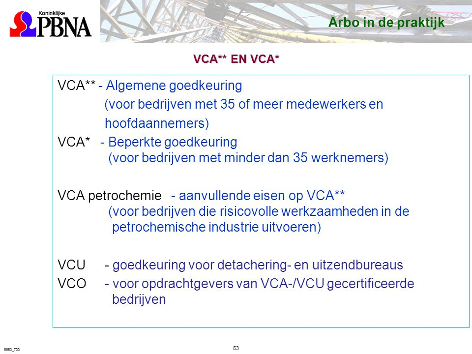 VCA** - Algemene goedkeuring