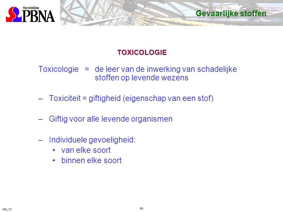 Toxiciteit = giftigheid (eigenschap van een stof)