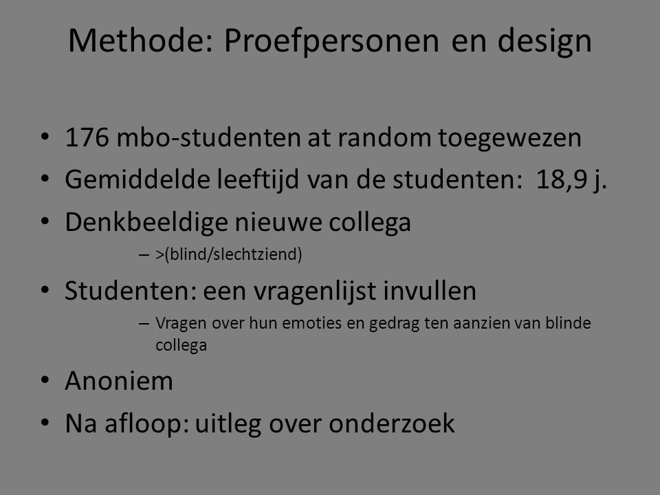 Methode: Proefpersonen en design