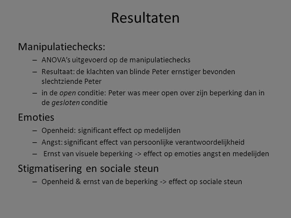 Resultaten Manipulatiechecks: Emoties Stigmatisering en sociale steun