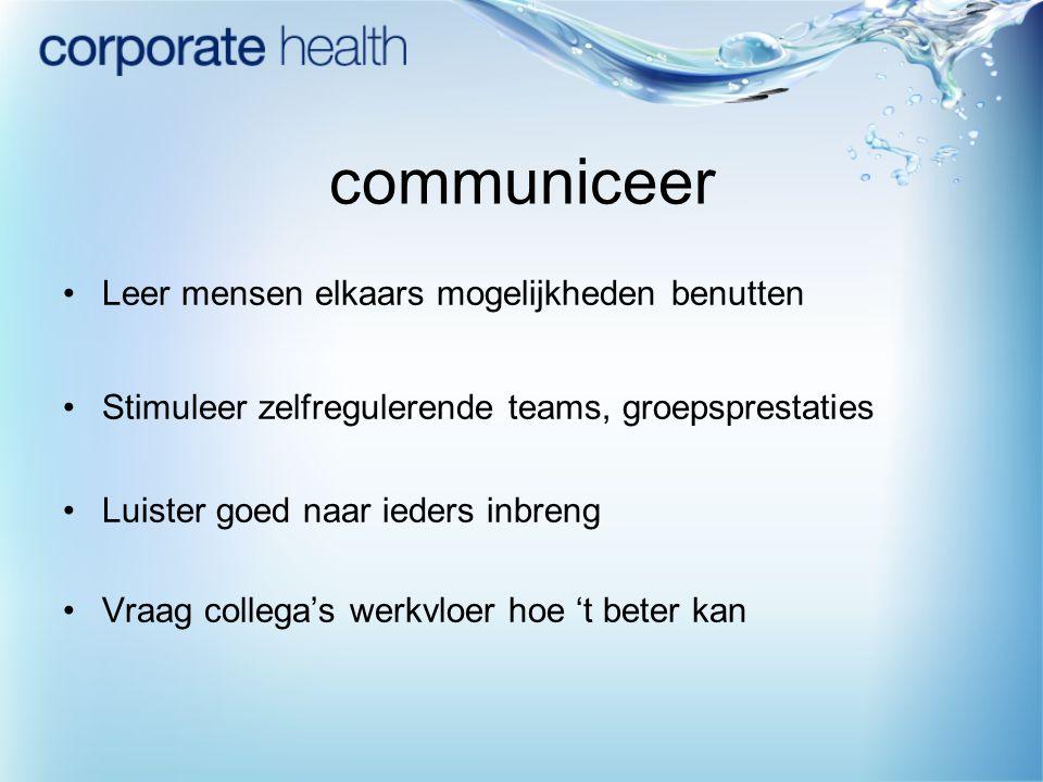 communiceer Leer mensen elkaars mogelijkheden benutten