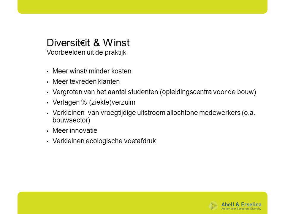 Diversit€it & Winst Voorbeelden uit de praktijk
