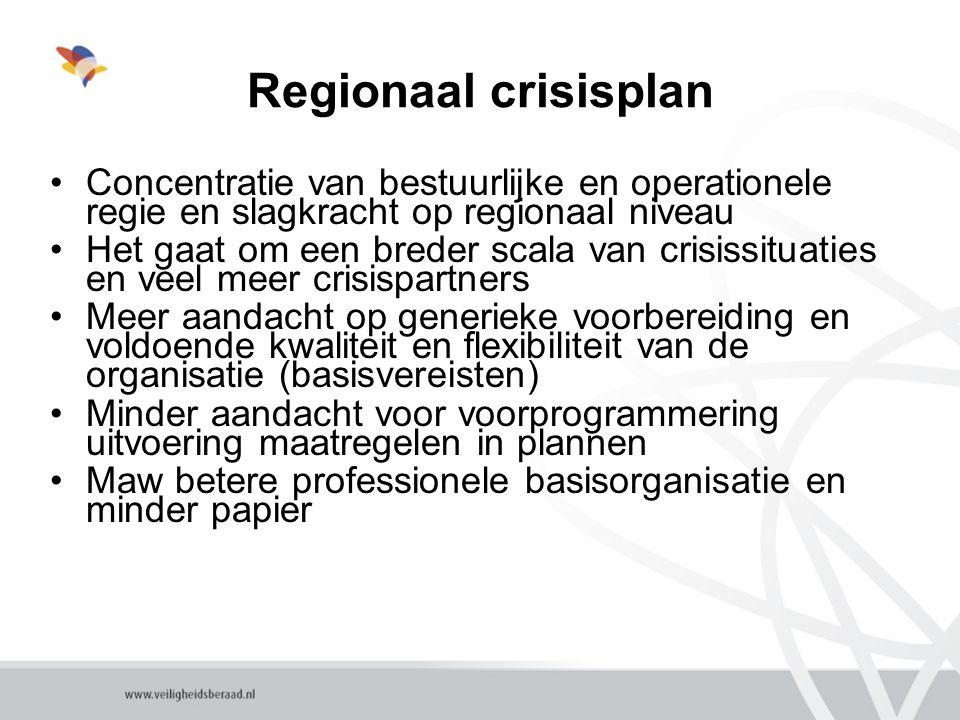 Regionaal crisisplan Concentratie van bestuurlijke en operationele regie en slagkracht op regionaal niveau.
