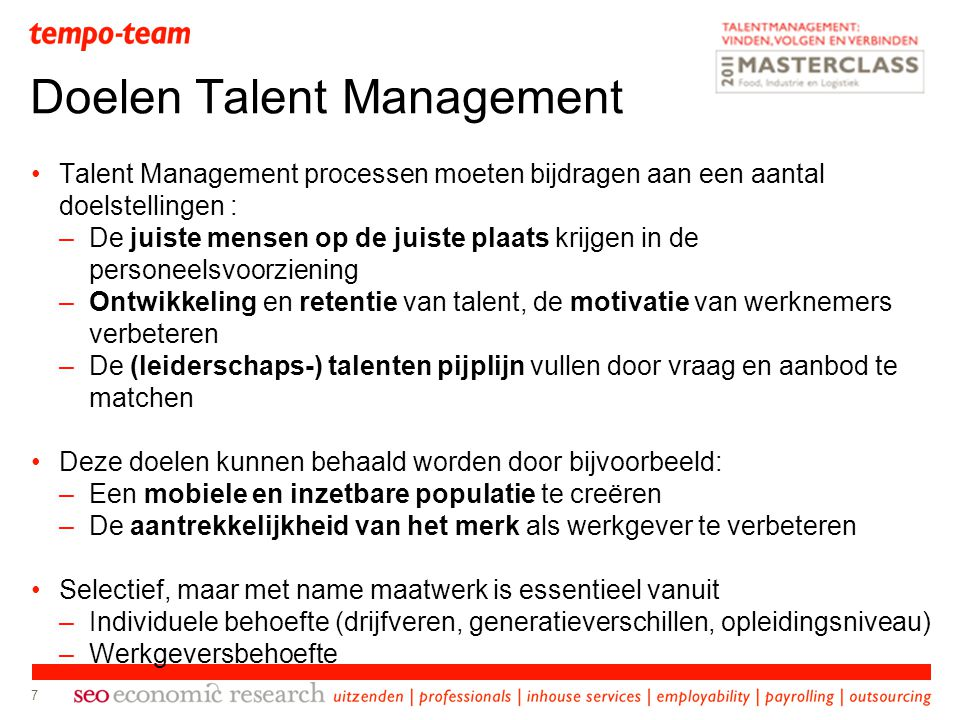 Doelen Talent Management