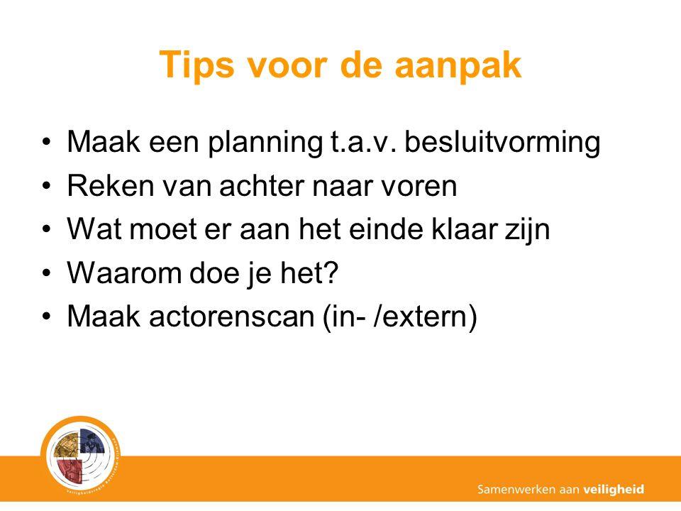 Tips voor de aanpak Maak een planning t.a.v. besluitvorming