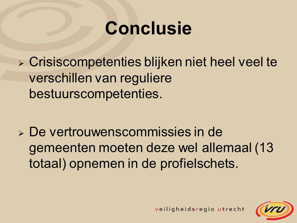 Conclusie Crisiscompetenties blijken niet heel veel te verschillen van reguliere bestuurscompetenties.