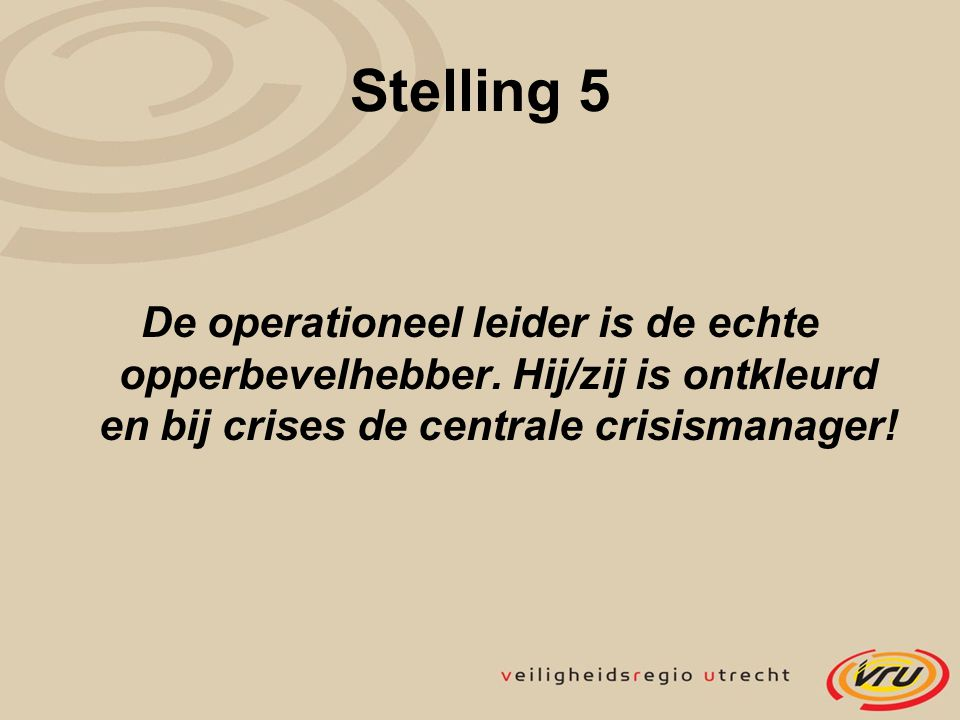 Stelling 5 De operationeel leider is de echte opperbevelhebber.