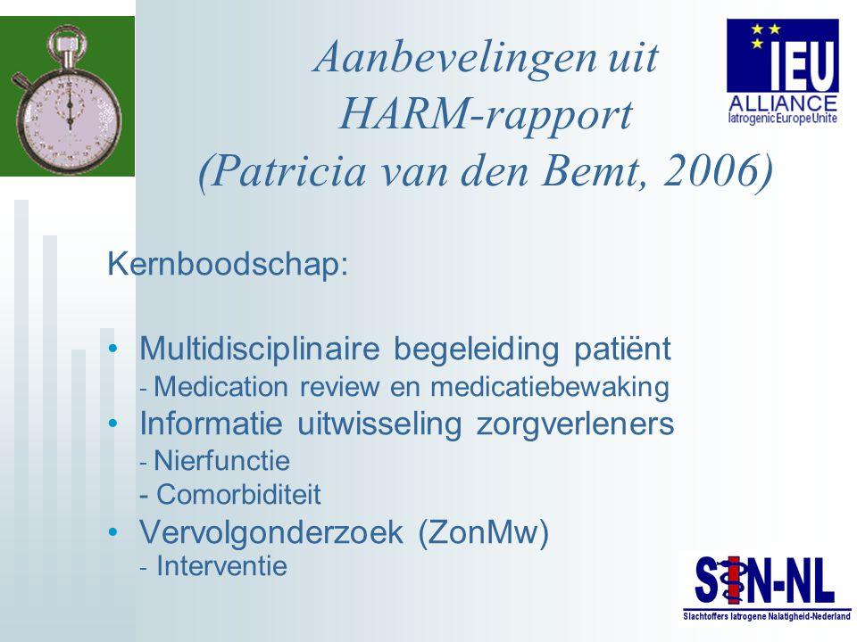 Aanbevelingen uit HARM-rapport (Patricia van den Bemt, 2006)