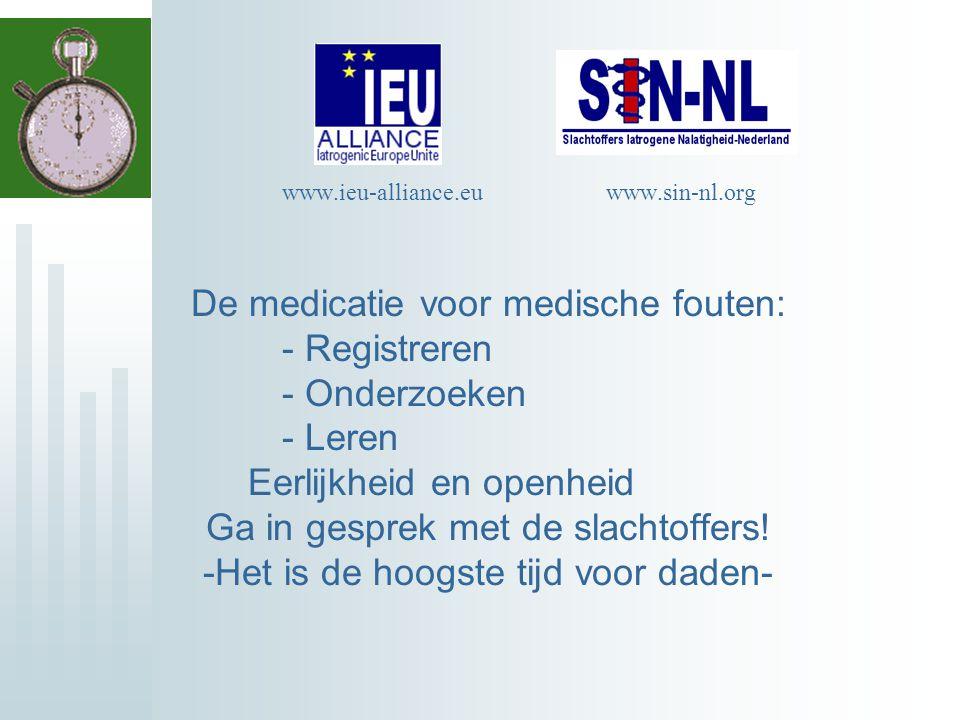 De medicatie voor medische fouten: - Registreren - Onderzoeken - Leren