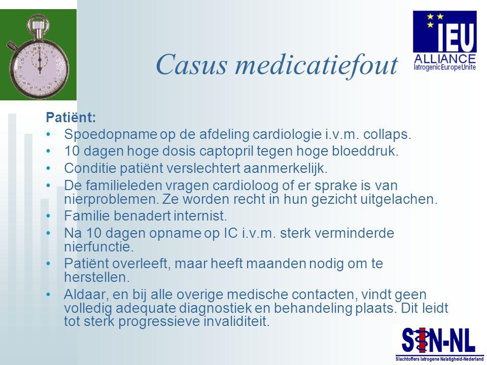 Casus medicatiefout Patiënt: Spoedopname op de afdeling cardiologie i.v.m. collaps. 10 dagen hoge dosis captopril tegen hoge bloeddruk.