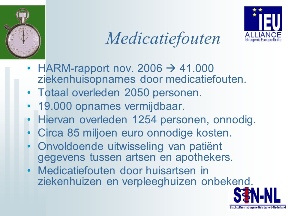 Medicatiefouten HARM-rapport nov. 2006  41.000 ziekenhuisopnames door medicatiefouten. Totaal overleden 2050 personen.