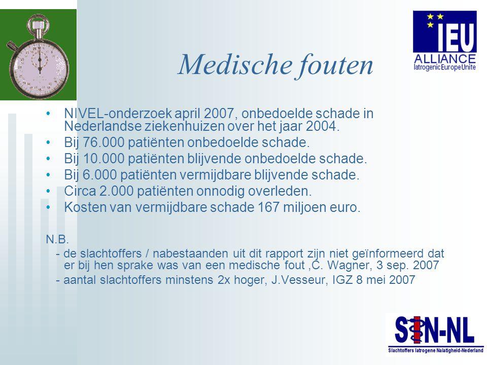 Medische fouten NIVEL-onderzoek april 2007, onbedoelde schade in Nederlandse ziekenhuizen over het jaar 2004.