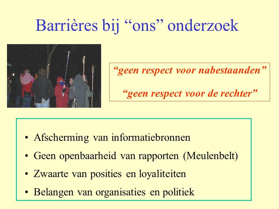 Barrières bij ons onderzoek