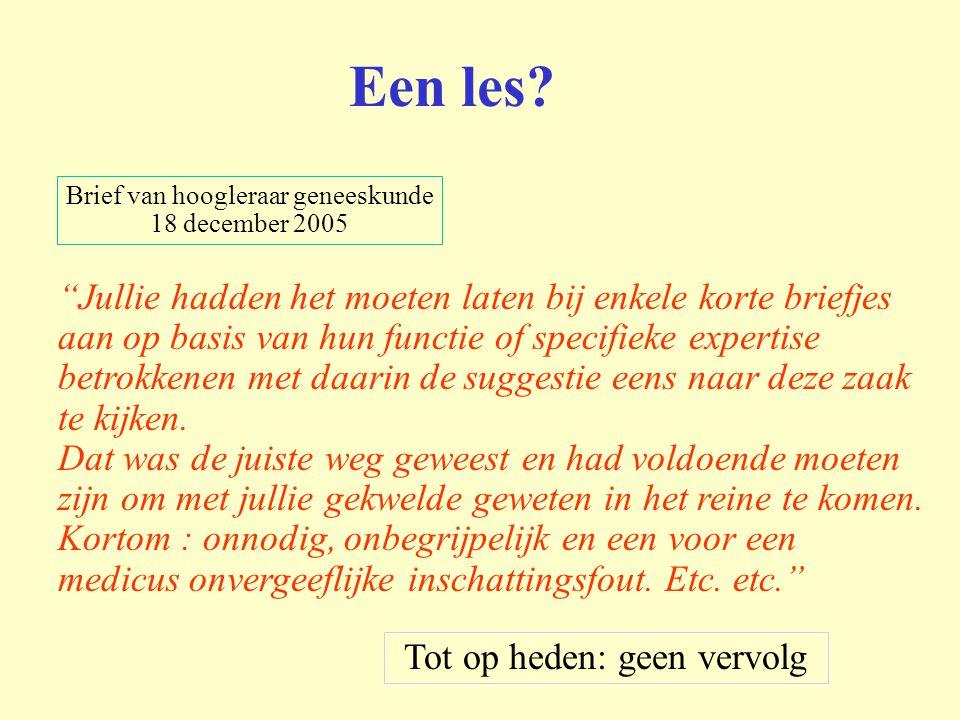 Een les Brief van hoogleraar geneeskunde. 18 december 2005.