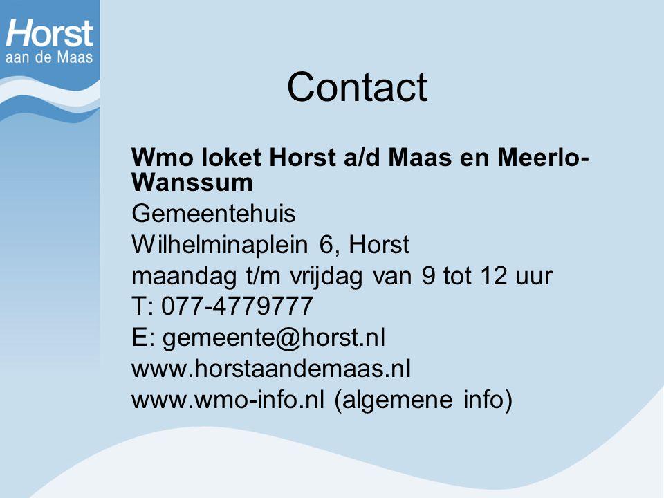 Contact Wmo loket Horst a/d Maas en Meerlo-Wanssum Gemeentehuis