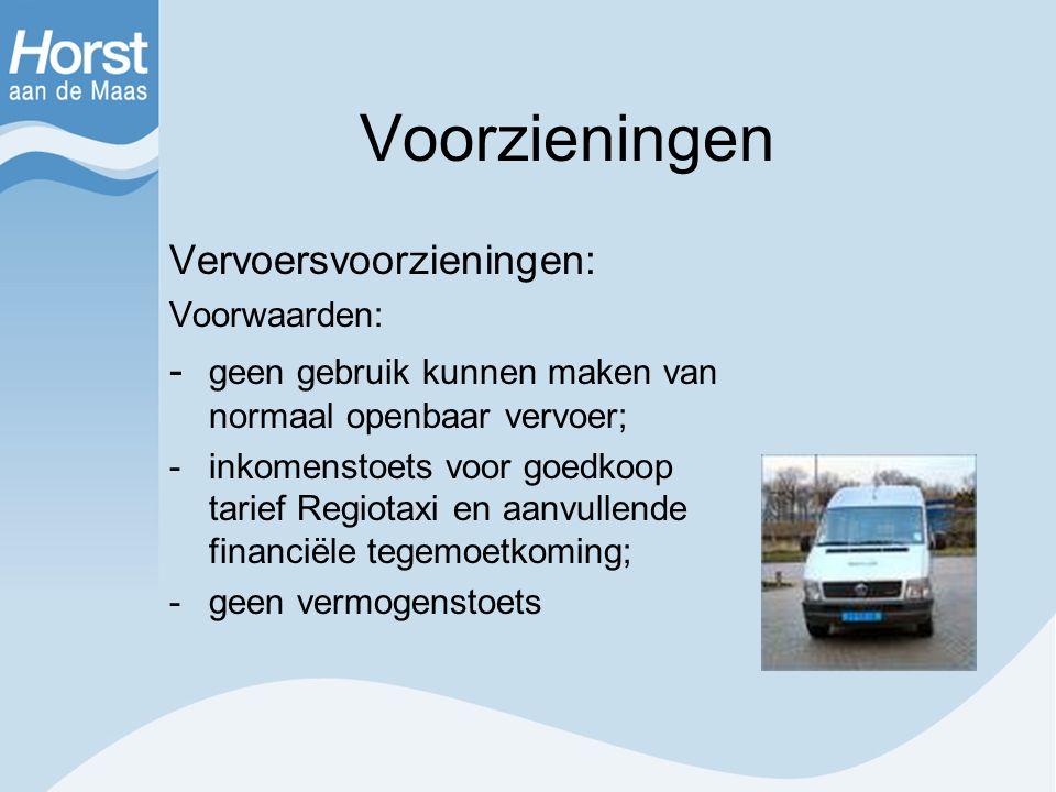 Voorzieningen Vervoersvoorzieningen: