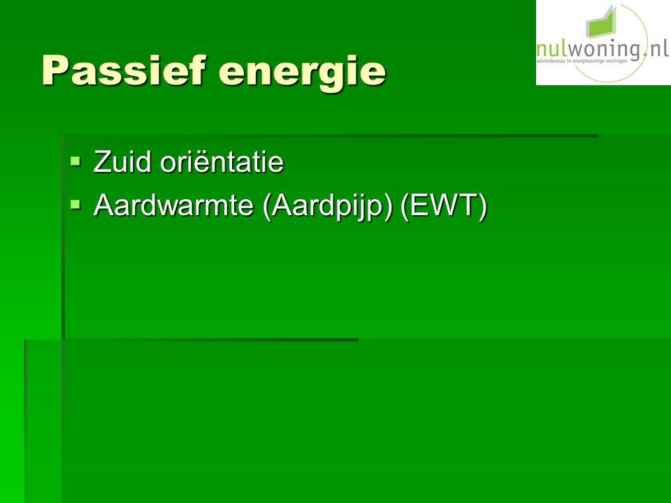 Passief energie Zuid oriëntatie Aardwarmte (Aardpijp) (EWT)