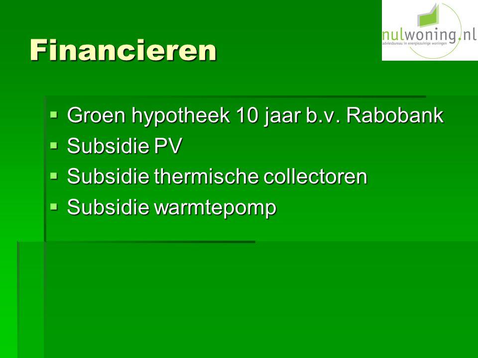 Financieren Groen hypotheek 10 jaar b.v. Rabobank Subsidie PV