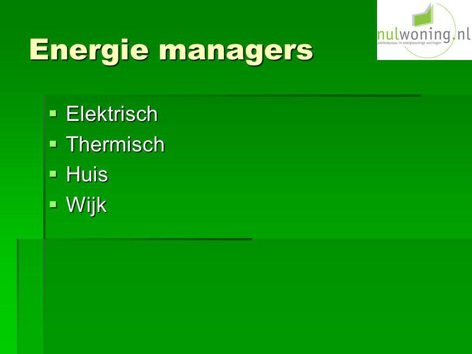 Energie managers Elektrisch Thermisch Huis Wijk