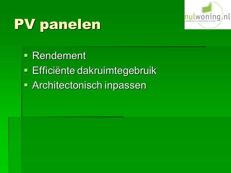 PV panelen Rendement Efficiënte dakruimtegebruik
