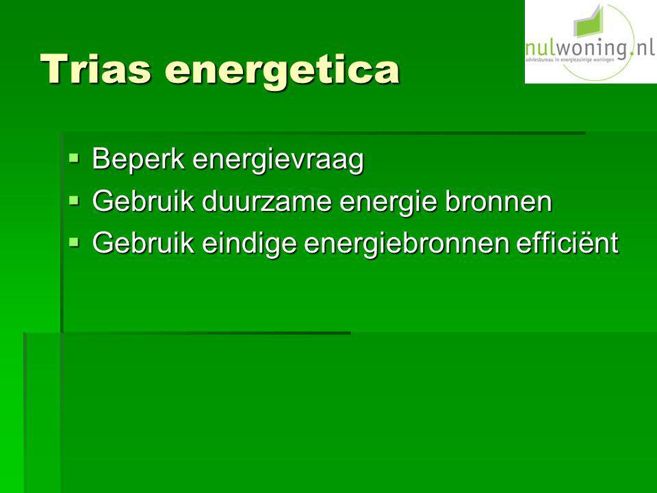 Trias energetica Beperk energievraag Gebruik duurzame energie bronnen