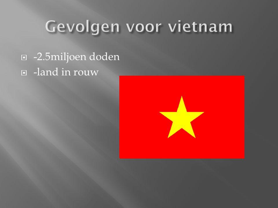 Gevolgen voor vietnam -2.5miljoen doden -land in rouw