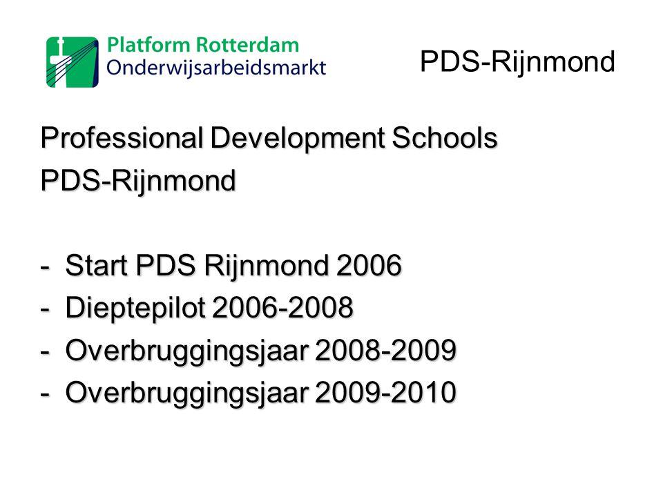 PDS-Rijnmond Professional Development Schools. PDS-Rijnmond. Start PDS Rijnmond 2006. Dieptepilot 2006-2008.
