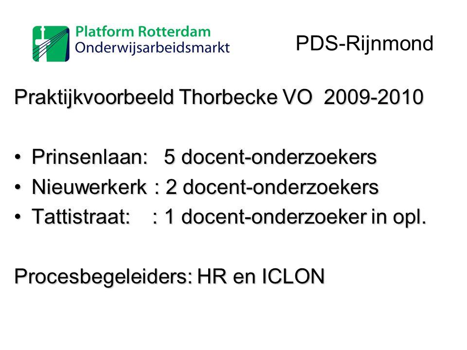 PDS-Rijnmond Praktijkvoorbeeld Thorbecke VO 2009-2010. Prinsenlaan: 5 docent-onderzoekers. Nieuwerkerk : 2 docent-onderzoekers.