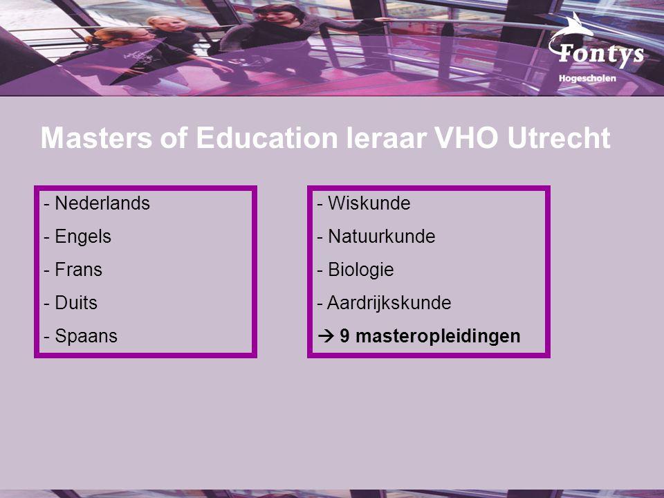 Masters of Education leraar VHO Utrecht