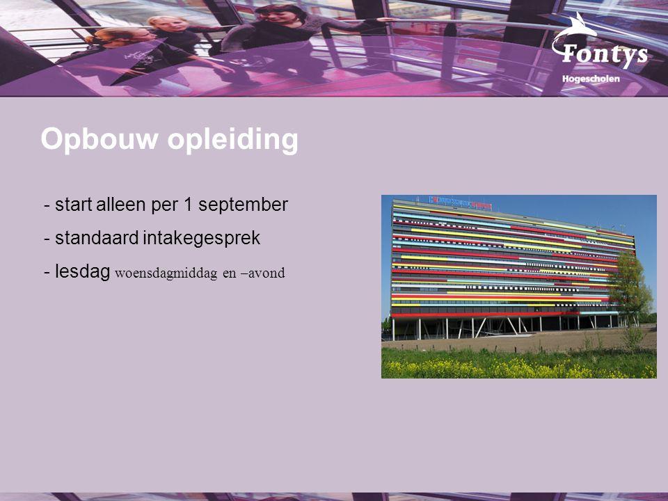 Opbouw opleiding fer. start alleen per 1 september