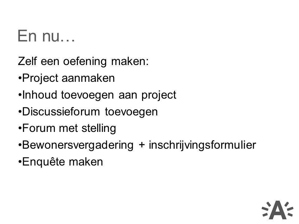En nu… Zelf een oefening maken: Project aanmaken