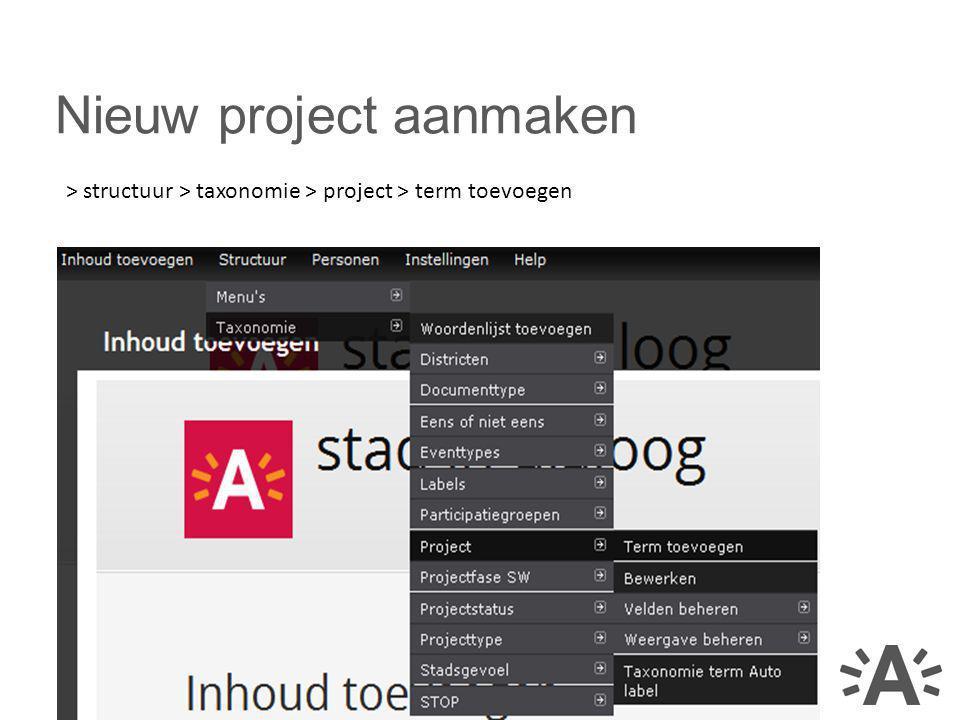 Nieuw project aanmaken