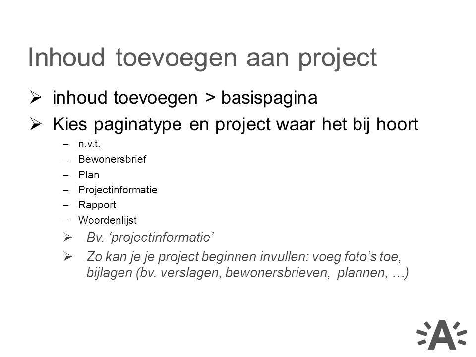 Inhoud toevoegen aan project
