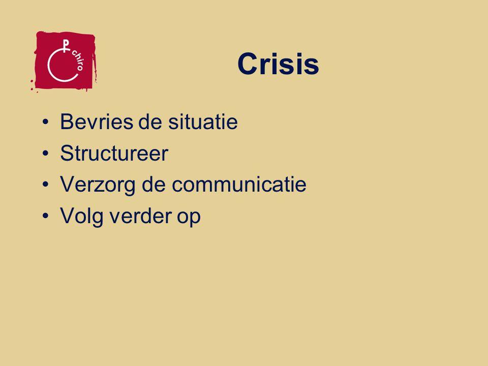 Crisis Bevries de situatie Structureer Verzorg de communicatie