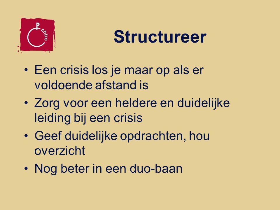 Structureer Een crisis los je maar op als er voldoende afstand is