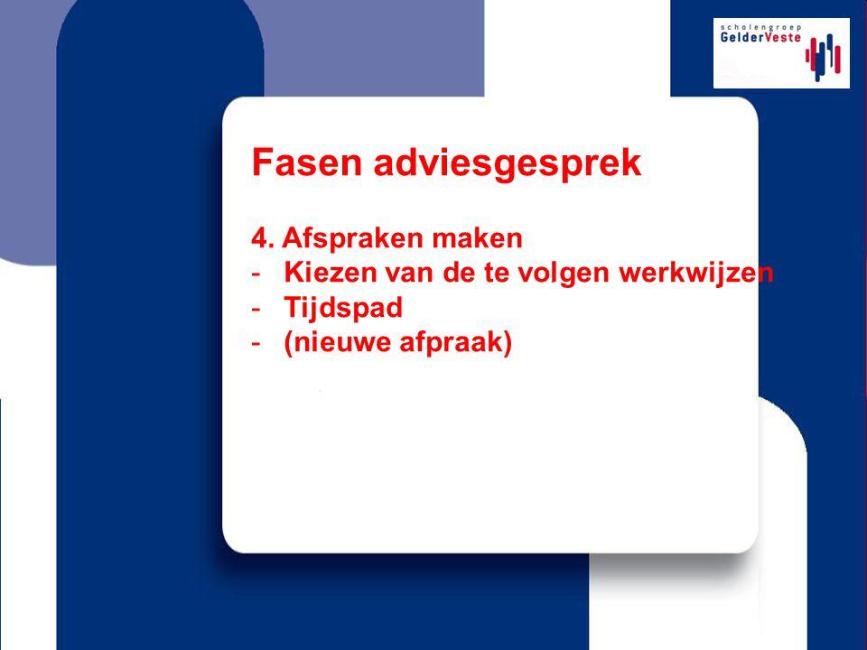 Fasen adviesgesprek 4. Afspraken maken