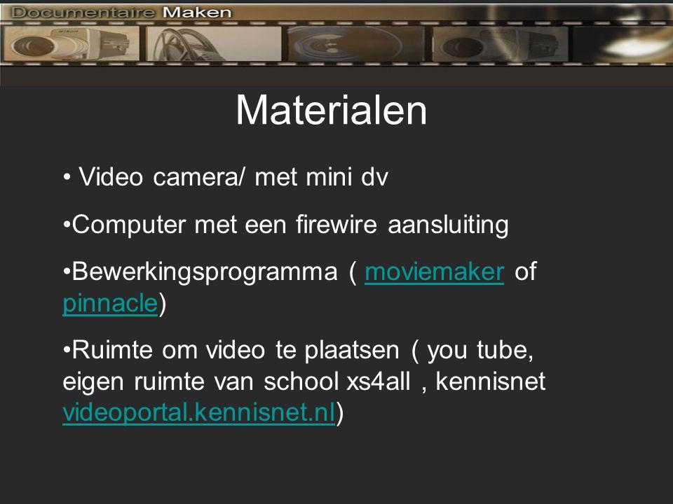 Materialen Video camera/ met mini dv