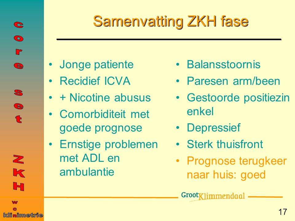 Samenvatting ZKH fase core set ZKH wcn kli imetrie Jonge patiente